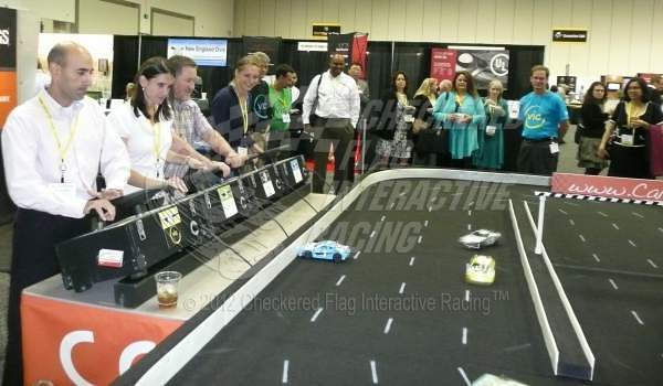 Checkered Flag Interactive Racing provinding remote control NASCAR-style racing in a trade show booth