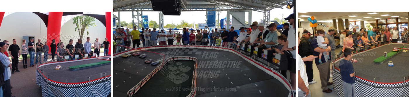 Images of remote control NASCAR-style racing from Checkered Flag Racing.